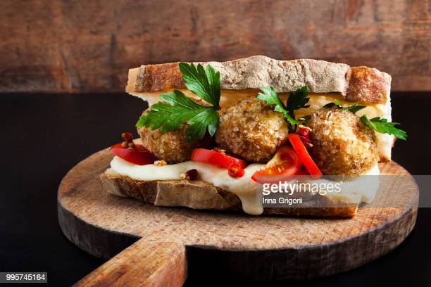 sandwich with risotto arancini balls and cheese mo