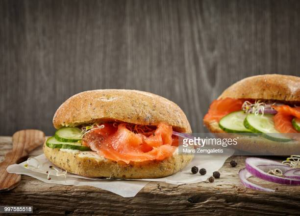 sandwich with smoked salmon and cucumber