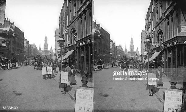 Sandwichboard men in the Strand advertise theatre seats 1894 Savoy Street is on the right and the church of St MaryleStrand is in the background
