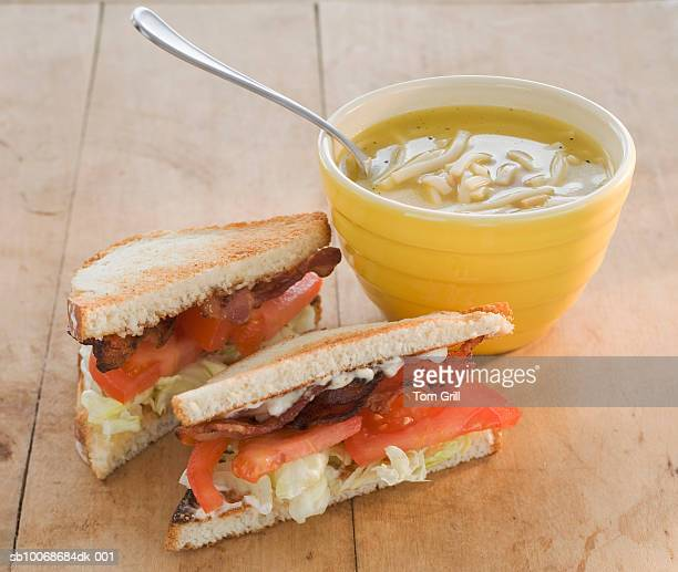 Sandwiches and chicken noodle soup