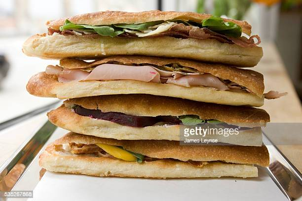 Sandwiches are prepared at the Sullivan St Bakery