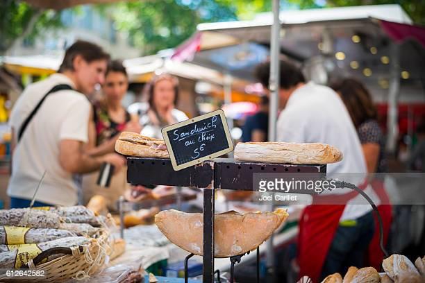 Sandwiches at Sunday market, Aix-en-Provence, France