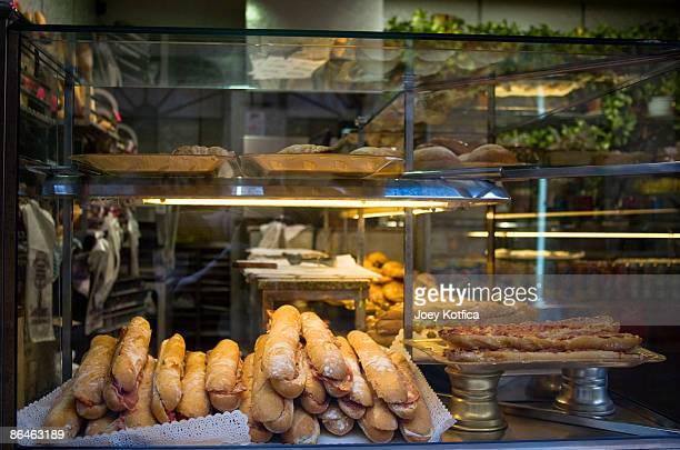 Sandwiches in shop window