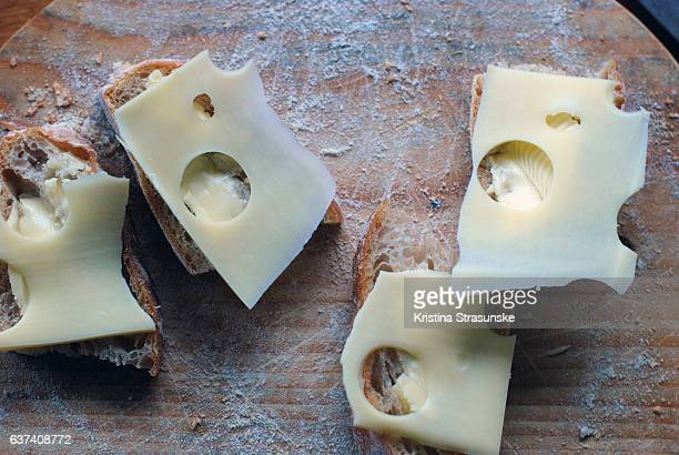 sandwiches of homebaked bread and cheese