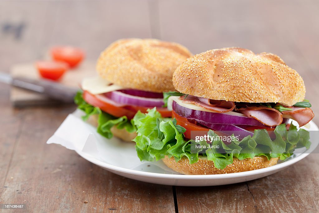 Sandwiches on Wooden Table : Foto de stock