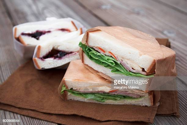 sandwiches - wax paper stock photos and pictures