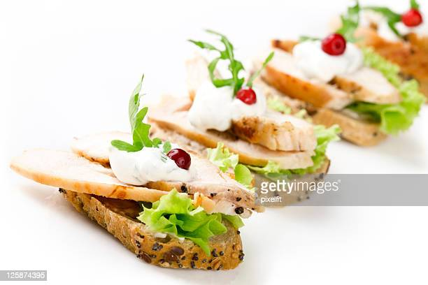 Sandwiches with meat and vegetable