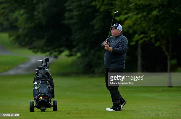 Sandy Aird of Forres Golf Course plays his second shot to the 15th hole during the PGA ProCaptain Scotland Qualifier at Haggs Castle Golf Club on...
