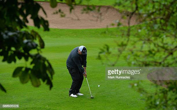 Sandy Aird of Forres Golf Course plays his second shot to the 17th hole during the PGA ProCaptain Scotland Qualifier at Haggs Castle Golf Club on...