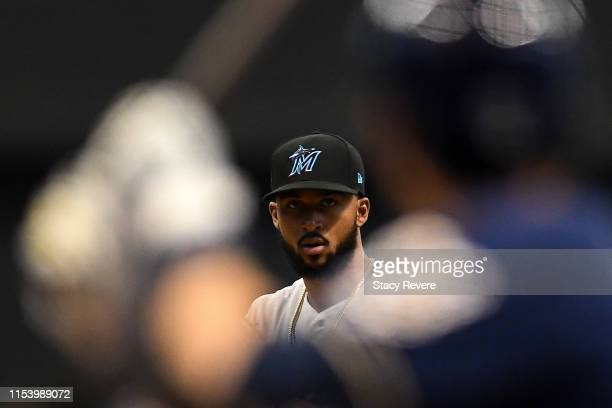 Sandy Alcantara of the Miami Marlins on the mound during a game against the Milwaukee Brewers at Miller Park on June 05, 2019 in Milwaukee,...