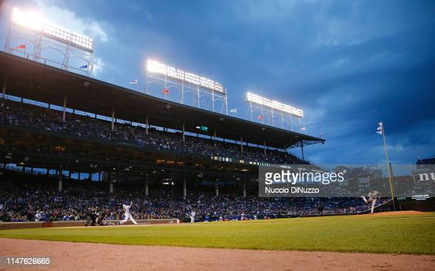 Sandy Alcantara of the Miami Marlins pitches in the first inning during the game against the Chicago Cubs at Wrigley Field on May 06 2019 in Chicago...