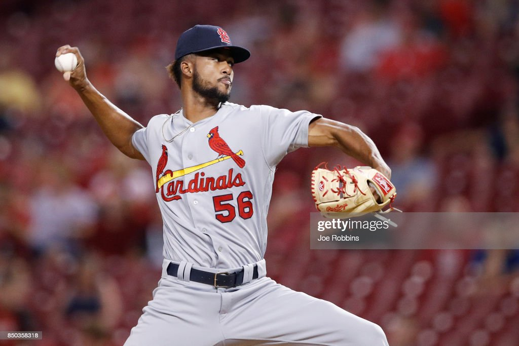 Sandy Alcantara #56 of the St. Louis Cardinals pitches in the eighth inning of a game against the Cincinnati Reds at Great American Ball Park on September 20, 2017 in Cincinnati, Ohio. The Cardinals won 9-2.