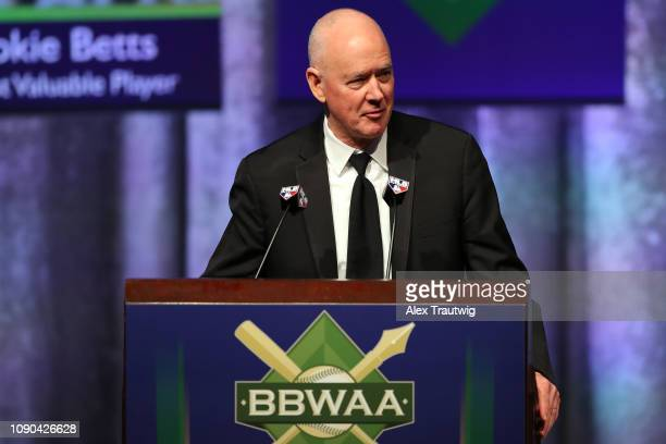 Sandy Alderson winner of the Arthur Milton Richman You Gotta Have Heart award speaks during the 2019 Baseball Writers' Association of America awards...