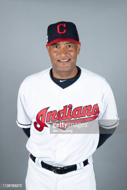 Sandy Alomar Jr #15 of the Cleveland Indians poses during Photo Day on Thursday February 21 2019 at Goodyear Ballpark in Goodyear Arizona