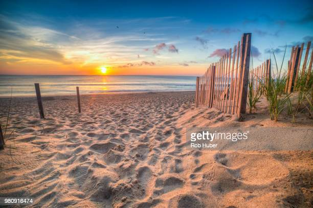 sandy beach and atlantic ocean at sunrise, outer banks, north carolina, usa - ノースカロライナ州 ストックフォトと画像