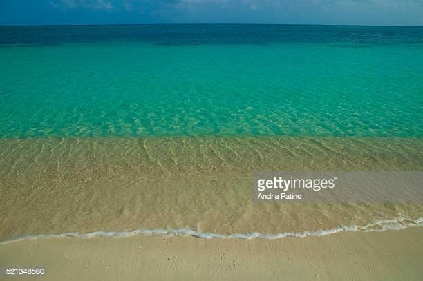 Sandy beach and blue horizon