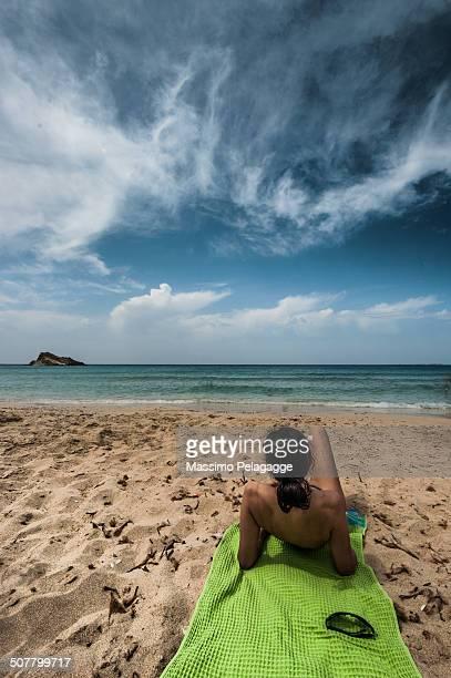 Sandy beach and gorl
