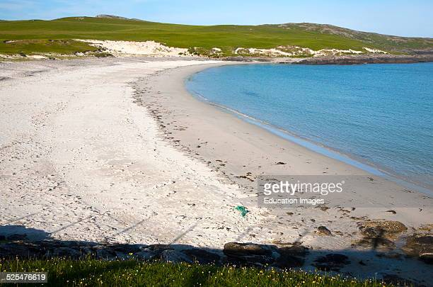 Sandy beach at Bagh a Deas South Bay Vatersay island Barra Outer Hebrides Scotland