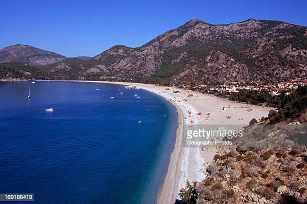 Sandy beach in the bay at Olu Deniz Fethiye Turkey