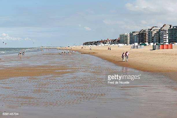 sandy beach of the north sea. - traditionally belgian stock pictures, royalty-free photos & images