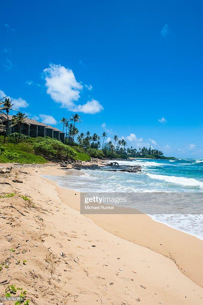 Sandy Beach On Kapaa Park The Island Of Kauai Hawaii United States