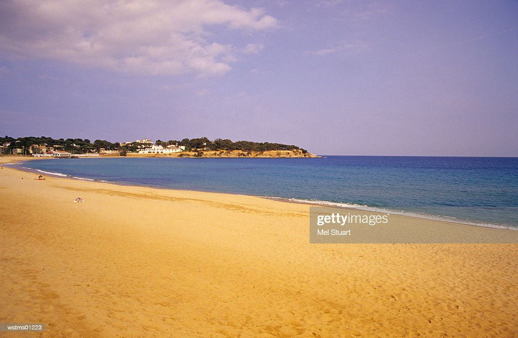 Sandy beach, Platja S'Agaro, Costa Brava, Catalonia, Spain : Stock Photo