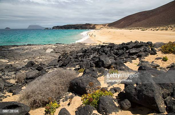 Sandy beach Playa de las Conchas Graciosa island Lanzarote Canary Islands Spain