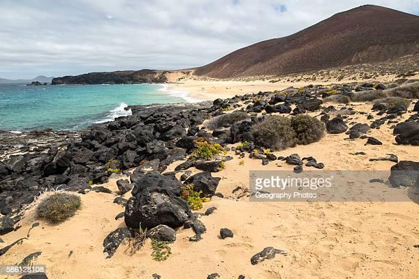 Sandy beach Playa de las Conchas, Graciosa island, Lanzarote, Canary Islands, Spain.