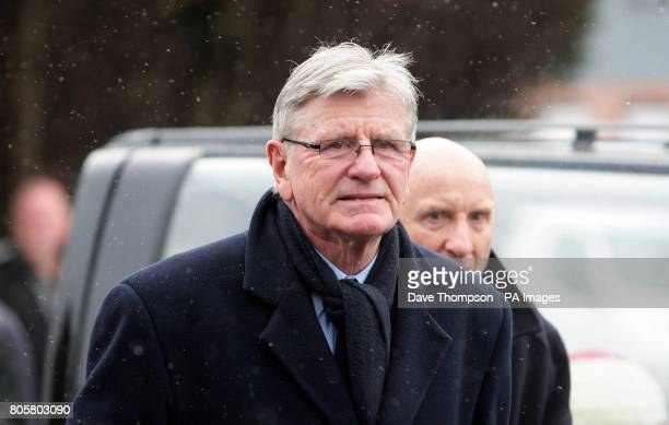 Sandy Busby son of former Manchester United manager Sir Matt Busby arrives for the funeral of Busby Babe Albert Scanlon at All Souls Church in the...