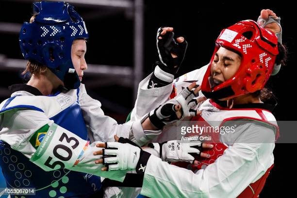 Sandy Camila Leite Macedo of Brazil and Safia Salih of Morroco compete in the Women's 55kg Semifinals during day 3 of Buenos Aires Youth Olympics...