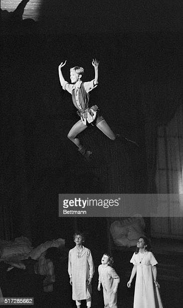Sandy Duncan as Peter Pan describes the joys and wonders of Neverland to Wendy played by Marsha Kramer in the new Broadway musical production of...