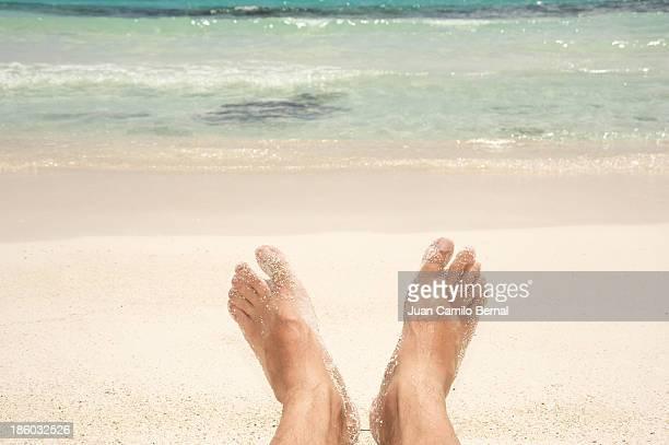 Sandy feet at the beach