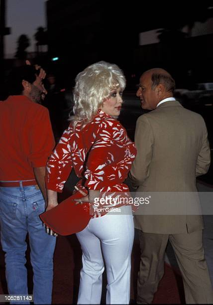 Sandy Gallin Dolly Parton and Barry Diller during 'Back to the Future' Los Angeles Premiere at Samuel Goldwyn Theater in Beverly Hills CA United...