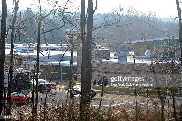 Sandy Hook Elementary School a day after Adam Lanza opened fire inside school killing 27 people including 20 children