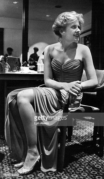 MAY 08 1979 MAY 29 1979 JUN 3 1979 Sandy Leiker waits before her moment in spotlight in Albert Capraro Qiana gown