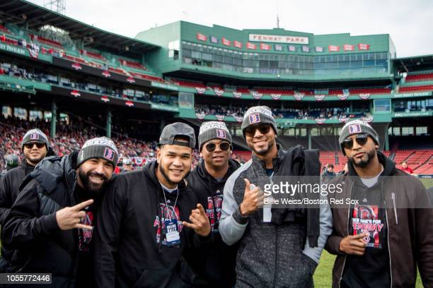 Sandy Leon Eduardo Rodriguez Rafael Devers Xander Bogaerts and Eduardo Nunez of the Boston Red Sox pose for a photograph during the 2018 World Series...