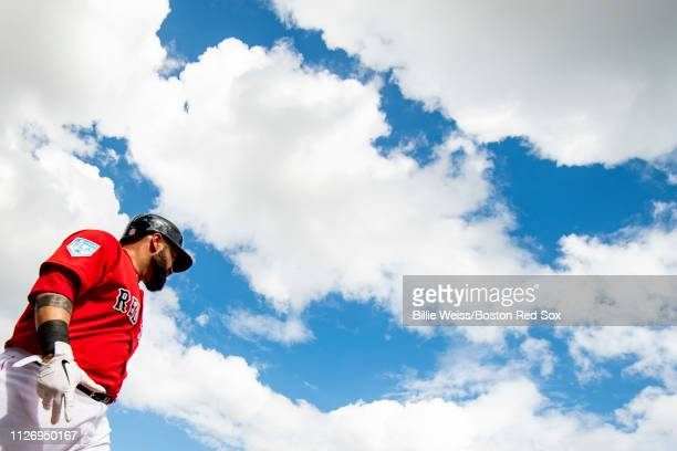 Sandy Leon of the Boston Red Sox looks on during the third inning of a game against the New York Yankees on February 23 2019 at JetBlue Park at...
