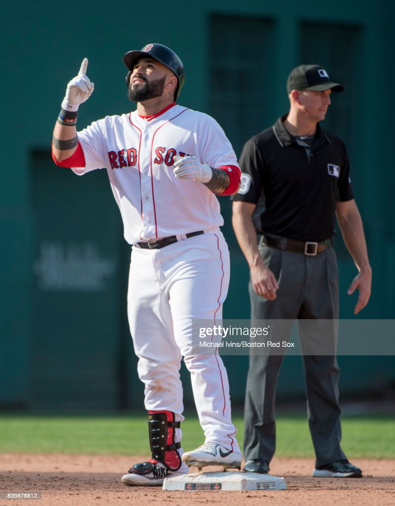 Sandy Leon #3 of the Boston Red Sox reacts after a two-run double against the New York Yankees in the eighth inning at Fenway Park on August 20, 2017 in Boston, Massachusetts.