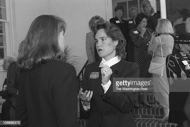 Sandy Liddy Bourne , a candidate for the Va. House of Delegates and the daughter of G. Gordon Liddy, talks with Susan Allen, wife of Gov. George...
