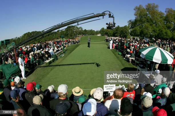 Sandy Lyle of Scotland hits his tee shot on the first hole during the third round of The Masters at the Augusta National Golf Club on April 7 2007 in...