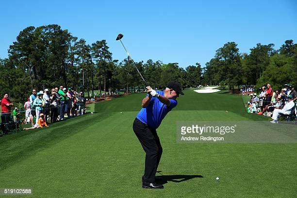 Sandy Lyle of Scotland plays his shot from the first tee during a practice round prior to the start of the 2016 Masters Tournament at Augusta...