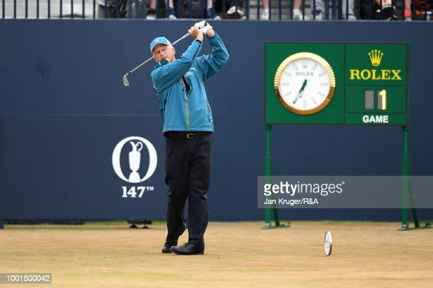Sandy Lyle of Scotland plays the opening shot on the 1st tee during round one of the 147th Open Championship at Carnoustie Golf Club on July 19 2018...