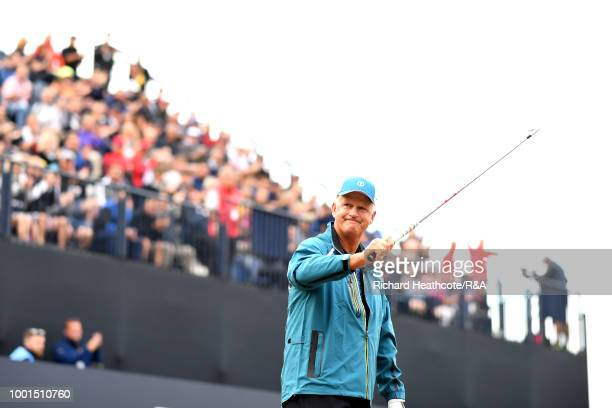 Sandy Lyle of Scotland prepares to play the opening shot of the Open Championships on the 1st tee during round one of the 147th Open Championship at...
