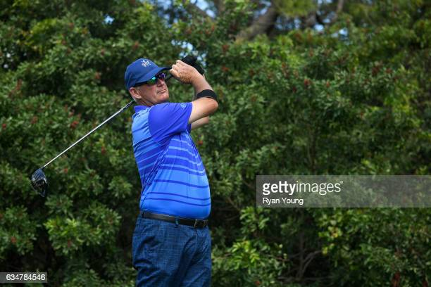 Sandy Lyle tees off on the 15th hole during the second round of the PGA TOUR Champions Allianz Championship at The Old Course at Broken Sound on...