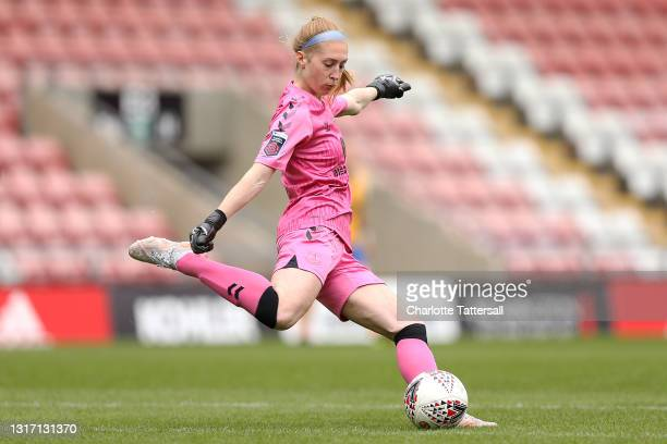 Sandy MacIver of Everton in action during the Barclays FA Women's Super League match between Manchester United Women and Everton Women at Leigh...