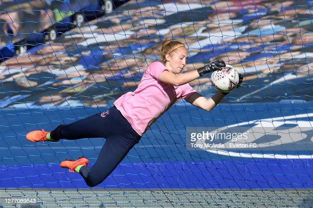 Sandy MacIver of Everton Women warms up for the Women's FA Cup Quarter Final match between Everton and Chelsea at Goodison Park on September 27 2020...