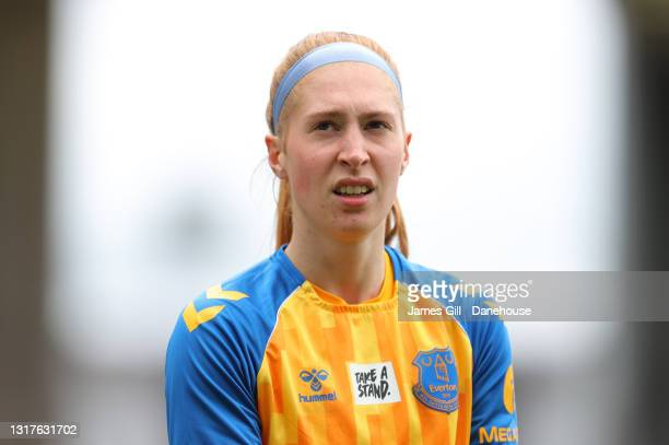 Sandy MacIver of Everton Women warms up prior to the Barclays FA Women's Super League match between Manchester United Women and Everton Women at...