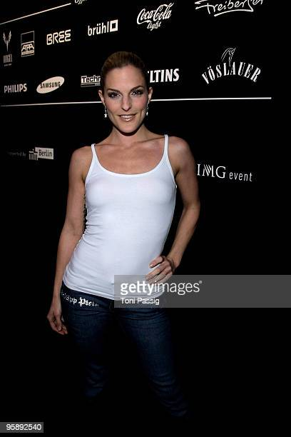 Sandy Moelling of No Angels arrives at the Sam Frenzel Fashion Show during the MercedesBenz Fashion Week Berlin Autumn/Winter 2010 at the Bebelplatz...