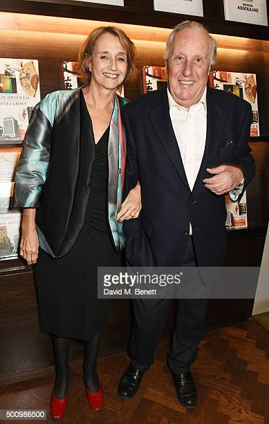 Sandy Molloy and Frederick Forsyth attend a champagne reception to celebrate the launch of Mandarin Oriental The Book by Assouline at Maison...