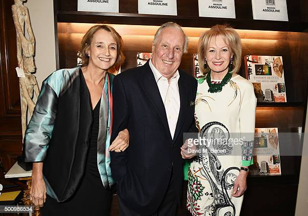 Sandy Molloy Frederick Forsyth and Lady Annunziata Asquith attend a champagne reception to celebrate the launch of Mandarin Oriental The Book by...